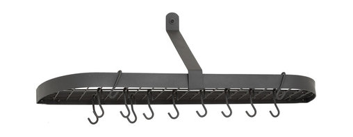 "Old Dutch International - Graphite Wall Pot Rack with Grid & 12 Hooks - Why waste cabinet storage space, when you could be putting your ceiling to work? Hang this sleek, sturdy rack in your kitchen and employ the 12 hooks and grid shelf (36"" x 9"" x 10¾"") to house all your pots in style."