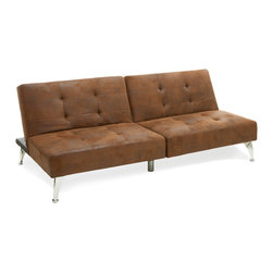Great Deal Furniture - Lenny 2pc Microfiber Clik-Clak Sofa Couch, Brown - The Lenny Clik-Clak Sofa Couch offers a unique seating solution for any room in your home. The adjustable sofa couch can be laid flat or propped upright to create a backrest, turning it quickly and easily from day bed to sofa couch. Each half of the couch also works independently from the other and can be adjusted as such, catering to individual needs and creating multiple options for any room in your home.