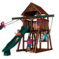 Play Structures for Any Yard size - Another version of the Adventure Tree House Space Saver.  Set dimensions are 11'  W x 16' D x 11 1/2' H.  Recommended safety clearances add 2' on either side and 4' in front of slide.  Set can be re-configured in different ways.