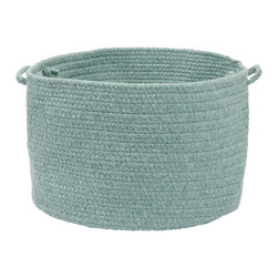 """Colonial Mills, Inc. - Sedona, Teal Utility Basket, 14""""X10"""" - Hold everything. This textural handled basket will help you hide and haul just about everything. Durable and adorable, the braided polyester and wool in soft aquamarine is sure to look great in your living room, bedroom or anywhere you need a little stylish storage."""