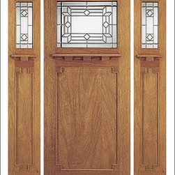 Arts & Crafts / Craftsman Doors - These entry doors are inspired by the Arts & Crafts / Craftsman Era.  They are built with dentil shelfs and shaker style panels.  Many models are also available in a 7 Foot Heights.  The glass is triple glazed ( three panes of glass ) which adds insulation and makes the door easier to clean while protecting the beveled glass at the same time.  We have a few models available in fiberglass if you want the same classic look in a material other than wood.  Give us a call today to find the right match!