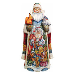 """Artistic Wood Carved Santa Claus Sharing Joy Sculpture - Measures 14""""H x 7.5""""L x 4""""W and weighs 5 lbs. G. DeBrekht fine art traditional, vintage style sculpted figures are delightful and imaginative. Each figurine is artistically hand painted with detailed scenes including classic Christmas art, winter wonderlands and the true meaning of Christmas, nativity art. In the spirit of giving G. DeBrekht holiday decor makes beautiful collectible Christmas and holiday gifts to share with loved ones. Every G. DeBrekht holiday decoration is an original work of art sure to be cherished as a family tradition and treasured by future generations. Some items may have slight variations of the decoration on the decor due to the hand painted nature of the product. Decorating your home for Christmas is a special time for families. With G. DeBrekht holiday home decor and decorations you can choose your style and create a true holiday gallery of art for your family to enjoy. All Masterpiece and Signature Masterpiece woodcarvings are individually hand numbered. The old world classic art details on the freehand painted sculptures include animals, nature, winter scenes, Santa Claus, nativity and more inspired by an old Russian art technique using painting mediums of watercolor, acrylic and oil combinations in the G. Debrekht unique painting style. Linden wood, which is light in color is used to carve these masterpieces. The wood varies slightly in color."""