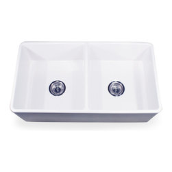 """Nantucket Sinks - Nantucket Sink 33"""" Double Equal Fireclay Farmhouse Kitchen Sink - Nantucket Sinks T-FCFS-33-DBL - 33"""" Double Equal Fireclay Farmhouse Kitchen Sink      (Includes Grid & Drain) 1/4"""" Taper from top to bottom.  It is made from"""