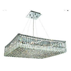 """PWG Lighting / Lighting By Pecaso - Chantal 12-Light 28"""" Crystal Chandelier 1728D28C-SS - The unique design of the Chantal Collection inspires any room setting. Dazzling spectacles of light sparkles throughout the fixture creating a modern, yet timeless beauty and elegance."""