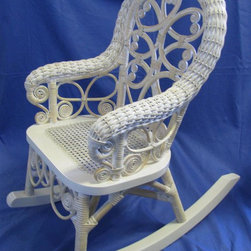 Spice Island Wicker - Kids Rocker Chair (White/Off-White) - Victorian style. Made from wicker. 28 in. L x 24 in. W x 28 in. H (20 lbs.)