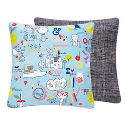 Cat and Dog Doodle Throw Pillow for Kids l Chloe and Olive - Chloe & Olive