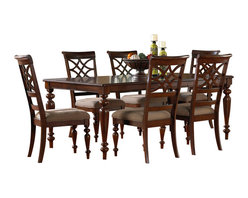 Standard Furniture - Standard Furniture Woodmont 8-Piece Leg Dining Room Set in Cherry - Woodmont features graceful and soft shaping in a clean urban style. Striking lattice accents on chair backs are perfect for today's modern home. Rich design and elegant styling invite a relaxed setting in your home.