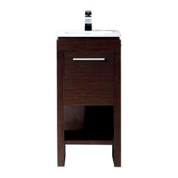 Vigo - Vigo 16-inch Aristo Single Bathroom Vanity - Vigo Aristo is a modern and sophisticated vanity that includes shelving, deep cabinet with swinging door, and a white ceramic single-hole sink. This freestanding vanity has the following features: