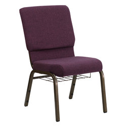 Flash Furniture - Hercules Series 18.5'' Wide Plum Church Chair With 4.25'' Thick Seat - Gold Vein - This HERCULES Series Church Chair will add elegance and class to any Church, Hotel, Banquet Room or Conference setting. If you are looking for a chair with comfort and style that is easy to move and stores away with ease, then look no further. This built to last chair has a 16-gauge steel frame that has been tested to hold 600 lbs. This church chair features double support bracing, ganging clamps, a cushion that graduates to a 4.25'' thick waterfall edge and plastic floor glides to protect non-carpeted floors. Our church chair is manufactured by one of the most reputable stack chair manufacturers in the industry, you can be assured of the quality of this chair offered to you.