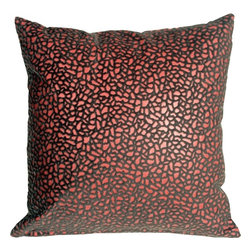 Pillow Decor - Pillow Decor - Pebbles in Red 18x18 Faux Fur Throw Pillow - Bring style and fashion into your home with this beautiful and unique decorative accent pillow. This red pebble print throw pillow is both stylish and practical. The base of the pillow is a dark rich red faux leather, whereas the pebble print is a raised faux fur in gray and brown, giving it a soft fun texture.