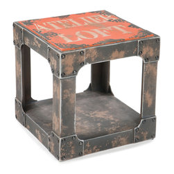 Moe's Home Collection - Moe's Home Loft Square Side Table in Orange - Colorful side table with storage