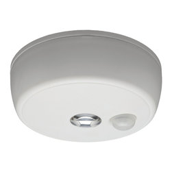 Mr Beams - Mr Beams Wireless Motion Sensing LED Ceiling Light - The MB980 from Mr. Beams is a battery-powered, wireless, motion-sensor LED ceiling light. Simply insert batteries and attach to any surface. A built-in photocell acts as a dusk to dawn sensor activating the motion sensor only after the sun has set or in a fairly dark room. These are fantastic bright indoor and outdoor lights for closets, stairways, attics, basements, utility rooms, porches, sheds, garages or showers. Tight seals and weather-resistant materials allow a Mr. Beams Ceiling Light to be installed in a shed for a full year, or in a shower that doesn't have enough light. Battery expectancy is around a year due to the motion sensor, light sensor, and auto shut off timer. The Mr Beams 80 Lumen LED Ceiling Light will only activate when motion is sensed, and will shut off 30 seconds after you leave the area. With a motion detection range of 20 feet; no ceiling is too high.