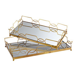Cyan Design - Nephrite Trays, Set of Two - The Nephrite Trays is at once classic and contemporary.  Featuring a sturdy iron construction finished with antique gold and interlocking circles along the rails, the trays feature an inset of mirror for additional glamour.  Use these Hollywood Regency inspired rectangle trays for light serving pieces or for displaying choice accessories such as candles or vases.  The Nephrite Tray Set features both a small and Large size tray in the set.