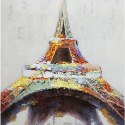 Yosemite Home Decor - Yosemite Home Decor ARTAA0447 Eiffel in ColorHome Decor Revealed Artwork Collect - Contemporary heavily textured piece depicting the Eiffel Tower in strokes of red, yellow, brown, and gray on a pale background.