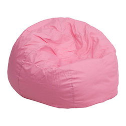Flash Furniture - Oversized Solid Light Pink Bean Bag Chair - Relax in style and comfort with this bean bag chair. The bean bag chair will make a comfortable addition in the family room, bedroom or dorm room. The slipcover can be removed for cleaning or spot cleaned upon accidents. Beads are securely contained with a metal safety zipper.