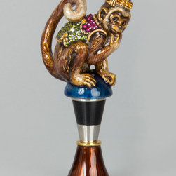 "Jay Strongwater - Monkey Wine Stopper - MULTI COLORS - Jay StrongwaterMonkey Wine StopperDetailsMade of cast metal.Hand enameled and hand set with Swarovski crystals.2.5""W x 1""D x 4.5""T.Imported.Designer About Jay Strongwater:Jay Strongwater's love of the elegant but vividly bejeweled objet whether it's meant to rest on a tabletop or the graceful curve of a woman's neck has led him on a journey through the worlds of fashion and home furnishings. He began his career while a student at the Rhode Island School of Design. After garnering raves for a necklace he'd made his mother he took jewelry samples to open buyer days at some of New York's finest department stores and soon a burgeoning business was born. At the age of 23 Strongwater met designer Oscar de la Renta with whom he began to collaborate on jewelry designs for runway shows. The move to home accessories was delightfully serendipitous & organic. For the 1994 holiday season Strongwater sent gifts of jewel-encrusted filigree picture frames to friends fashion editors and buyers who immediately fell in love with the design. By 1998 his Jewels for the Home collection had supplanted his fashion business. In essence Strongwater created his own niche: the jeweler turning his meticulous eye and art toward a world beyond a woman's wrists neck and ears."