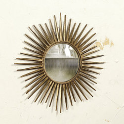 Ballard Designs - Suzanne Kasler Sunburst Mirror #4 - Hand crafted of metal. Antique gold finish. A vintage sunburst mirror creates an instant focal point over a mantel, sofa or above a console. Award-winning designer Suzanne Kasler created her #4 Sunburst Mirror with faceted rays and rope detailing to recreate the look of an antique. Hang it individually or mixed with her other sunburst mirrors as a collection.Vintage Sunburst Mirror features:. .