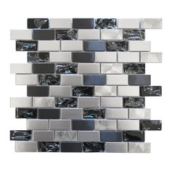 Eden Mosaic Tile - Stainless Steel and Crackled Glass Mosaic Mix Pack (11 Sheets) - This metal tile is comprised of stainless steel bricks in silver and dark pewter colors in addition to black glass that has a crackled effect. The surface of the glass is not sharp it has been manufactured to contain the cracked glass inside an outer glass shell. There are two types of brush patterns on the stainless steel the first being a straight snow matte linear brush pattern and the second being a circular brushed pattern. The different steel brush patterns appear to give the stainless steel a different color because of the way the light reflects off the tile when in fact both are a regular stainless steel color. The result is a visually stunning array of colors and textures which will surely make your wall pop. Use this steel and glass mixed mosaic on kitchen backsplashes bathroom walls fireplaces and even accent walls. The tiles in this sheet are mounted on a nylon mesh which allows for an easy installation. Imported.