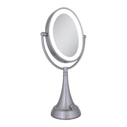 Zadro Products - Zadro LED Lighted 10X/1X Oval Satin Nickel Vanity Mirror - LEDOVLV410 - Shop for Bathroom Mirrors from Hayneedle.com! Cords and inefficient incandescent bulbs are so yesterday but the Zadro LED Lighted 10X/1X Oval Satin Nickel Vanity Mirror is the mirror you need today. This double-sided oval mirror offers 1X magnification on one side and 10X magnification on the reverse. 4AA batteries power the bright and efficient LEDs that surround the mirror and radiate soft effective light. A simple on/off switch and a satin nickel finish make this an easy choice for any bathroom or suitcase.About Zadro ProductsZadro Products has been a leading innovator in bath accessories mirrors cosmetic accessories and health products for over 25 years. Among the company's innovations are the first fogless mirror first variable magnification mirror first surround light mirror and more. Not a company to rest on its laurels Zadro continues to adapt to the ever-changing needs of modern life.