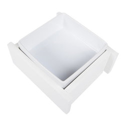 Trendy Pet - 4 Inch Bistro Bowl With One Ceramic Square Bowl, White - Do you have a small cat or dog? Our dish is the perfect fit. Quality porcelain square dish that is easy to remove and adds a modern Asian flair to your decor.