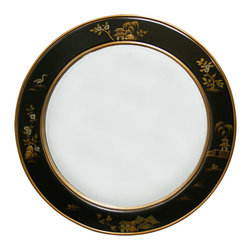 China Furniture and Arts - 30in Chinoiserie Round Mirror - The frame is what's all there to turn a simple mirror into a work of art. Made in round shape, the symbol of unity in Chinese culture, the frame is hand painted and hand carved with gold highlighted Chinoiserie scenery design on black matte finished wood. Perfect for hallway or powder room. Mounting ware is included on the back. Beveled mirror.