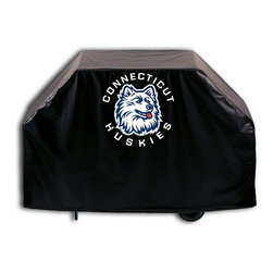 """Holland Bar Stool - Holland Bar Stool GC-ConnUn Connecticut Grill Cover - GC-ConnUn Connecticut Grill Cover belongs to College Collection by Holland Bar Stool This Connecticut grill cover by HBS is hand-made in the USA; using the finest commercial grade vinyl and utilizing a step-by-step screen print process to give you the most detailed logo possible. UV resistant inks are used to ensure exeptional durablilty to direct sun exposure. This product is Officially Licensed, so you can show your pride while protecting your grill from the elements of nature. Keep your grill protected and support your team with the help of Covers by HBS!"""" Grill Cover (1)"""