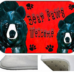 Bear Paws Plush Bath Mat, 20X15 - Bath mats from my original art and designs. Super soft plush fabric with a non skid backing. Eco friendly water base dyes that will not fade or alter the texture of the fabric. Washable 100 % polyester and mold resistant. Great for the bath room or anywhere in the home. At 1/2 inch thick our mats are softer and more plush than the typical comfort mats.Your toes will love you.