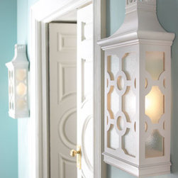"""Global Views - """"Pagoda"""" Sconce - Stunning in a room with white trim, the """"Pagoda"""" sconce will enchant.  This pretty sconce is made of white lacquered wood and seeded glass.    * 13.5""""W x 7""""D x 29""""T."""