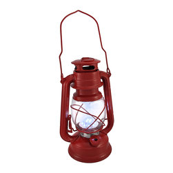 Zeckos - Battery Operated 12 LED Red Camping Lantern 9.5 In. - This camping lantern features a convenient combination of a classic design and modern technology. Twelve ultra white LED lights shine brighter than the light from traditional kerosene lanterns. The lantern is made of metal with a glass globe and measures 9 1/2 inches tall, 6 1/4 inches wide, 4 1/2 inches deep. It runs on 2 D batteries (not included), and is great for camping and fishing, or is a great accent light on your porch or patio. This lantern is a wonderful alternative to fuel lanterns, there is no smoke, no fire, no cleaning, and no worries about kids using it.