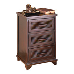 santa rosa - santa rosa end table - Sleek and attractive, this dark wood-finished unit is equally at home beside a bed or adding storage next to a sofa.  Three roomy drawers hold plenty of items right at easy reach, yet neatly out of sight.  Wood and veneer board.