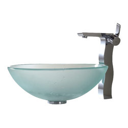 Kraus - Kraus Frosted Glass Vessel Sink and Sonus Faucet - Add a touch of elegance to your bathroom with a glass sink combo from Kraus.