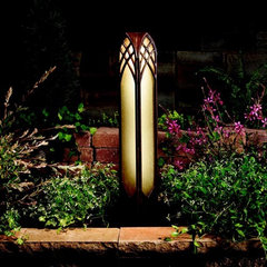 Cathedral Textured Tannery Bronze Bollard Path Landscape Light Kichler Bollards