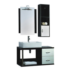 "The Tub connection - 40 Inch Black & White Wall Mounted Wood & Porcelain Vanity Set - ""Linn"" - Black and white isn't just for weddings! Vanity Linn comes in the ultra modern black and white and it is in the contemporary style of the wall mounted vanity. The open style cabinet has one large opening for bulky items and the two white drawers with soft close hinges. The sink is oversized and square in white porcelain. A mirror trimmed on two sides with black mounts next to a side cabinet in black. To increase storage, the side cabinet has two open shelves and one white door with soft close hinges. MDF Wood Wall Mounted Vanity"