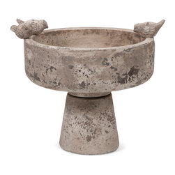 Milthorpe Birdbath - This cement birdbath features adorable bird shaped accents and a modern shape that looks great anywhere.