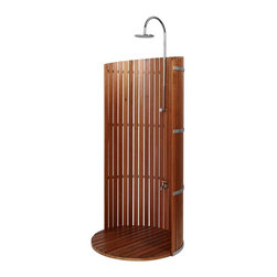 Freestanding Lauan Privacy Shower Panel with Round Lauan Tray - Experience the ultimate outdoor shower with the Lauan Privacy Shower and Round Lauan Tray. Featuring a sturdy, curved lauan wood panel, Chrome rainfall showerhead and convenient foot shower, this outdoor shower makes an elegant addition to pool areas, gardens and backyards.