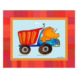 Oh How Cute Kids by Serena Bowman - Dino Construction - Tritop, Ready To Hang Canvas Kid's Wall Decor, 24 X 30 - I love trucks and I love dinosaurs.  This series had to happen.  So do little boys!  Your little guys will love this in a playroom or bedroom!