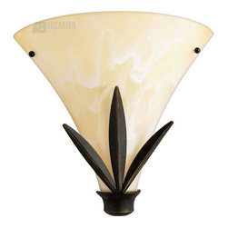 Quoizel - Quoizel QZ-CV8701IB Caballero Modern/Contemporary Wall Sconce - Broad wedges of wrought iron give this piece a sleek look, while the cream shades with a embossed leaf pattern offer a soft and sophisticated touch.