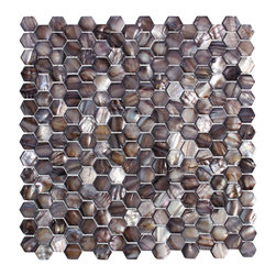 "MATS - ""Black Oyster"" Backsplash Mother Of Pearl Shell Mosaic Wall Tile - Italian 1st Quality Designer Shell Mosaics"
