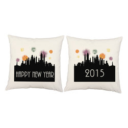 RoomCraft - New Years Fireworks Throw Pillow Covers 16x16 White Shams - FEATURES: