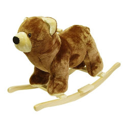 Trademark Global - Brown Plush Bear Rocking Animal w Hardwood Co - Recommended for ages 2 yrs. old & up. Recommended Weight Limit: 80 lbs.. Soft and plush to the touch. Hand crafted with a hard wood core and stands on sturdy wood rockers. 30 in. L x 14 in. W x 21 in. H (13 lbs.). Seat Height: 19 in.This lovable, cuddly bear will be a sure hit with any child. This is much more than your average teddy bear.