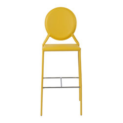 Eurostyle - Isabella-B Bar Chair (Set Of 2)-Yellow - Regenerated leather seat, back and legs on steel frame