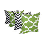 Land of Pillows - Chevron Black and Fynn Bay Green Quatrefoil Outdoor Throw Pillows - 4 pack, 16x1 - Fabric Designer - Premier Prints