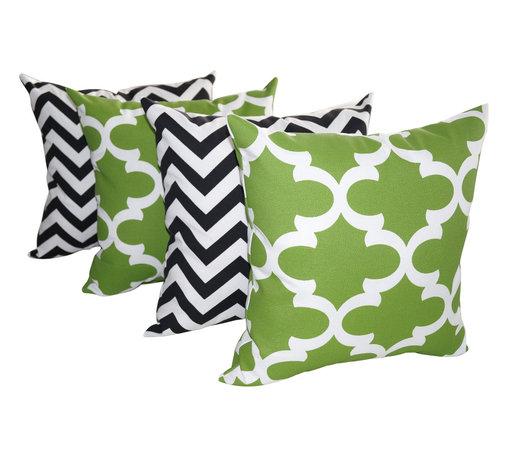 Land of Pillows - Chevron Black and Fynn Bay Green Quatrefoil Outdoor Throw Pillows - 4 pack, 16x1 - Fabric Designer - Premier Prints