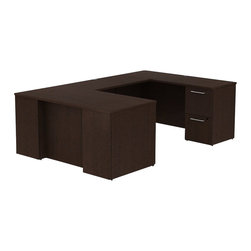 "Bush - Bush 300 Series 60"" U-Shape Desk Set in Mocha Cherry - Bush - Commercial Grade Office - 300S032MR - For the ultimate in extra working room and a space-saving profile, choose the BBF 300 Series 72""W x 22""D Desk. Straightforward yet stylish utility and go-anywhere versatility let this desk be placed where others cannot. Two box drawers and one file drawer in the left pedestal store files or office supplies. Right pedestal features two file drawers on fully extendable drawer slides for easy access to back. All file drawers accommodate letter- legal or A4-size files. Select from a range of matching finish options and get the flexibility to grow as your office or business expands. Clean, desktop grommets offer easy access for cords and cables and conceal unsightly wires. Rugged top surface looks good for years, resisting most scratches and blemishes. Includes BBF Limited Lifetime warranty."