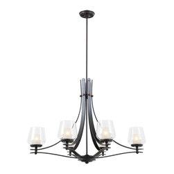 DVI LIghting - Dvi Lighting DVP5402ORB-OP Six Lighting Linear Chandelier - DVI Lighting DVP5402ORB-OP Six Lighting Linear Chandelier
