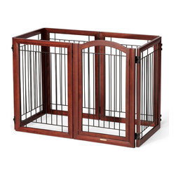 Frontgate - Six-panel Mahogany-finished Hardwood Pet Gate and Crate Dog Gate - Six-panel pet barrier easily sets up as a zig-zag gate, a spacious hexagonal puppy playpen, or a sturdy rectangular crate. Weighing over 50 lbs., it's substantial enough to keep even larger dogs contained. Crafted of solid wood with a mahogany finish. Powdercoated wrought-iron bars. A single latched door opens for walk-through convenience. Versatile and distinctive, our Mahogany-finished Hardwood Pet Gate and Crate is also a playpen. The hefty, 12-ft. design of this gate is essential, allowing it to be reconfigured to keep pets temporarily out of the way from certain areas of the home or permanently cordoned. . Weighing over 50 lbs., it's substantial enough to keep even larger dogs contained. . . . Folds flat for storage. Arrives fully assembled; view care instructions.