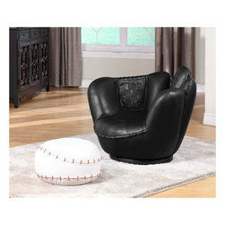 Baseball Swivel Chair w/ Ottoman - Here's a quirky duo for your living room or game room. The chair swivels too!