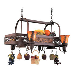 Hi-Lite MFG - Odysee 6-Lite Pot Rack in Rust Finish - Includes six pot rack hooks. Accessories and bulbs not included. UL listed. Brown odysee glass. Six 100W MED INC for lamps. Made from steel. 36 in. L x 29 in. W x 21 in. HHi-Lite achieved success through attention to detail and stubbornness to only manufacturer the highest quality product. Hi-Lite has built its reputation as a premier lighting manufacturer by using only the finest raw materials, inspirational designs, and unparalleled service. This allows us great flexibility with our designs as well as offering you the unique ability to have your custom designs brought to Light.