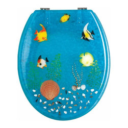 Renovators Supply - Toilet Seats Chrome Polymer Ocean Floor Round Toilet Seat | 16947 - Ocean Floor Toilet Seats: Made of High Grade Polymer this seat is designed for maximum strength and durability and does NOT yellow over time like most polymers. Fits over standard size toilet bowls and comes in a variety of designs. Cast within the seat the stabilizing bumpers prevent rocking and keep the seat safely in place. Solid brass swivel hinges are easily adjustable 3 5/8 inch to 7 1/2 inch and easier to clean. Chrome-plating protects solid brass hinges from tarnishing for years to come. Seat measures: 15 13/16 inch x 14 9/16 inch Lid measures: 14 5/16 inch x 13 1/8 inch Round shape.
