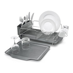 Polder Advantage 4 Piece Dish Rack - The attractive Polder Advantage 4 piece dish rack system holds up to 10 plates and includes a cutlery holder with split compartments.  The removable drain tray allows you to utilize extra drying space when needed.   Product Features      Rust-resistant brushed stainless steel   Slideout plastic drain tray offers added drying space   Dish rack holds up to 10 plates and includes 6 posts   Drain tray and cutlery holder with split compartments   Removable tray measures 14.25 x 13.25 inches   Drain tray and cutlery holder are dish washer safe